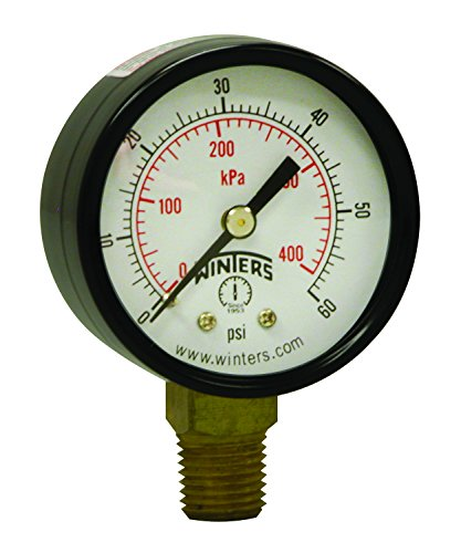 0.25 Inch Bottom Mount - Winters PEM Series Steel Dual Scale Economical All Purpose Pressure Gauge with Brass Internals, 0-60 psi/kpa, 2