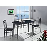 Modern Black Kitchen Dining Table and 4 Chairs 5 Piece (RRP £99.99)