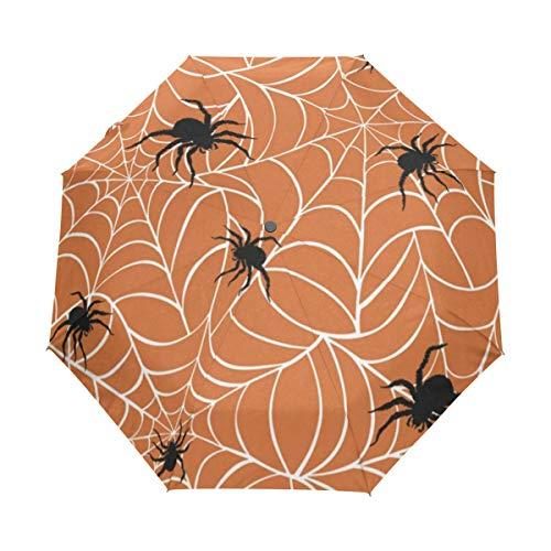 Travel Umbrella Windproof,Halloween Spiders On Webs Black Glue Anti UV Coating,Compact Folding Umbrellas Auto Open Close,for Women Men ()