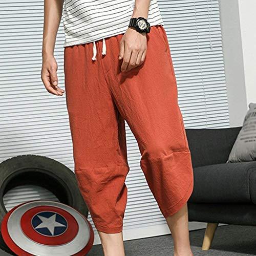4 Naranja De Capri Bolsas Hombre Color 3 Aladino Cómodo Cintura Battercake Sólido Pantalones Harem Para Elástica Playa Cortos Casual nqAU1ZSg