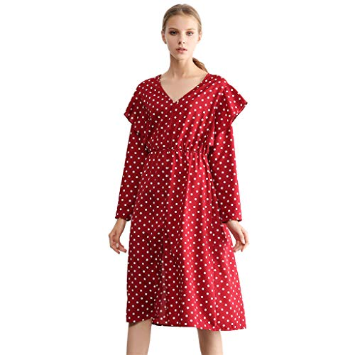 Dresses for Women Work Casual Plus Size,Women Fashion Dot Ruffle Deep V Neck Long Sleeve Dress Shirt Clubwear Dresses Club Sequin Graduation Work Pink for Red Vintage Black Party -