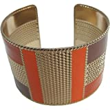 Gold and Orange/Brown Toned Brass Trendy Style Fashion Belly Dance Adjustable Cuff Indian Bracelet