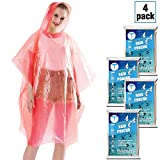 Disposable Rain Ponchos for Adults by(6 Pack) Including Drawstring Hood and Premium Quality 50% Thicker Material 100% Waterproof Emergency Rain Ponchos for Kids-Clear White (red 4 Pack)