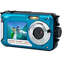 YSANY S09 Diving camera Double Screens Waterproof Digital Camera Sports Camera 2.7-Inch Front LCD with 2.7inch Camera--Blue