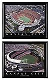 Kansas City Chiefs football Arrowhead Stadium and Kansas City Royals baseball Kauffman Stadium - Set of 2