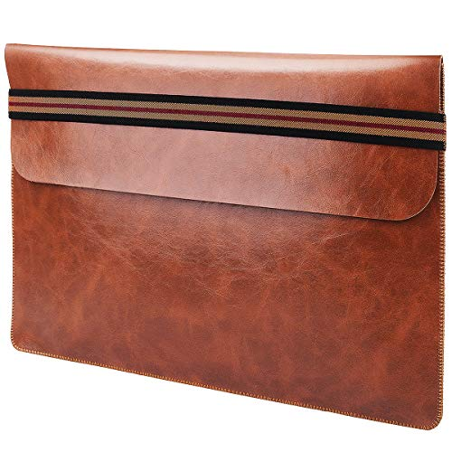 Leather Laptop 13-13.3 Inch Sleeve - ABRONDA Notebook Case Protective Bag Ultrabook for 13.3 Inch New MacBook Pro with Touch Bar and 13 Inch XPS HP/Dell/Asus/Acer/Thinkpad/Lenovo Notebook - Dark Brown
