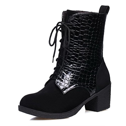 AllhqFashion Womens Blend Materials Low-Top Solid Lace-Up Kitten-Heels Boots Black qSg33tEpQ
