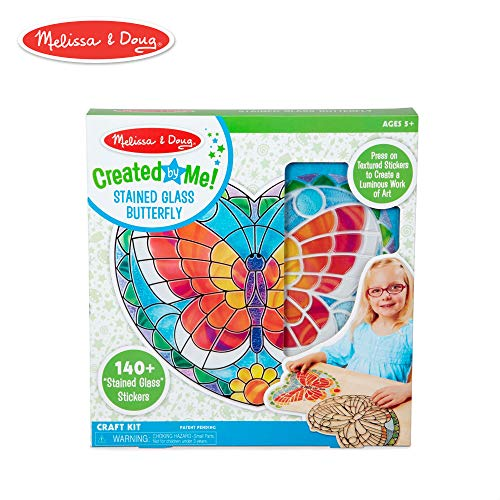 Melissa & Doug Created by Me! Peel-and-Press Stained Glass Butterfly Craft Kit