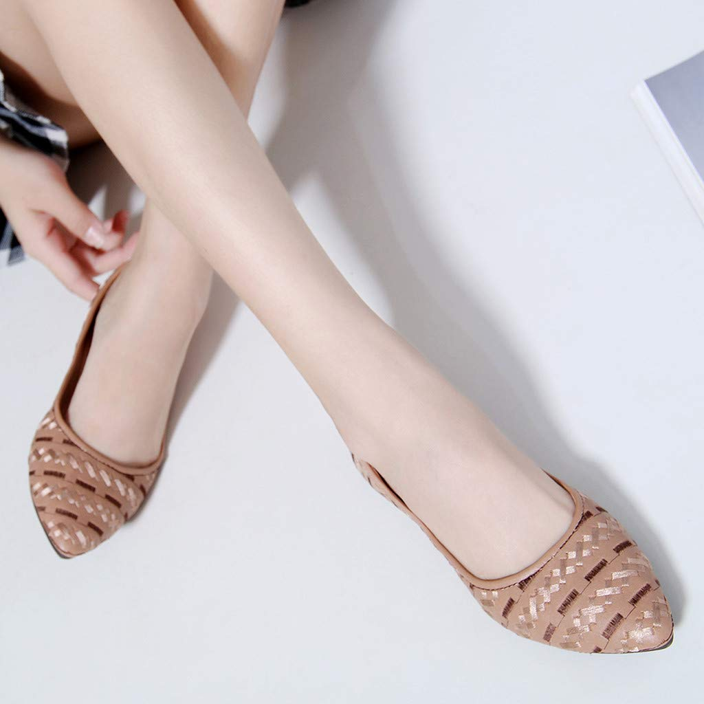 Womens Bohemian Shallow Mouth Single Shoes Basic Closed Pointed Toe Slip On Shoe Comfortable Flat Ladies Lazy Shoes ASERTYL