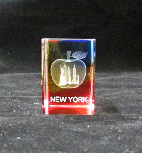 New York Souvenir NYC Skyline 3D Color Crystal Laser Etched Glass Paperweight with Statue of Liberty Empire State Building Freedom Tower USA Flag Mini Size (64003)
