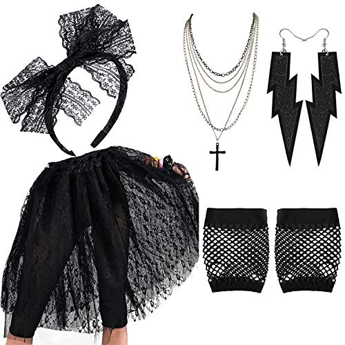 80's Madonna Pop Hallowwen Accessories for Women - Lace Skirt,Lace Headband Madonna Cross Necklace Earring Gloves for 80s ()