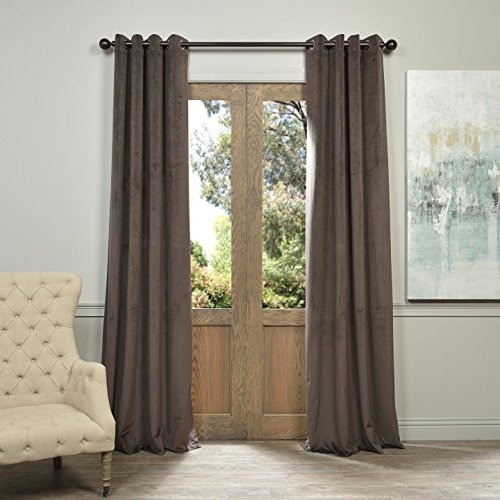 Half Price Drapes VPCH-140802-84-GRBO Signature Grommet Blackout Velvet Curtain, Gunmetal Grey, 50 X - Price Gunmetal
