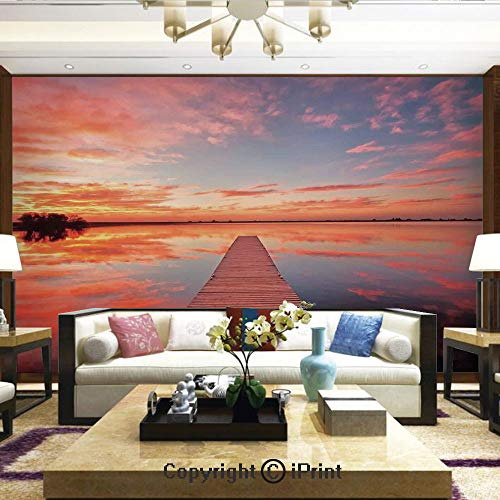 (Lionpapa_mural Wall Mural Showing All They Beauty Extremely Detailed Image, Long View of The Timber Deck Pier Over Lake with Idyllic Sky at The Dawn Decorative,Home Decor - 66x96 inches)