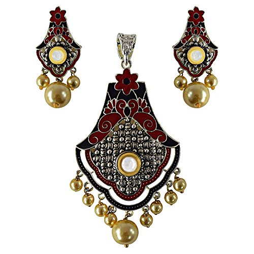 Get 55% off on Jewellery Set Antique meenakari silver plated pearl pendant set-21