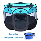 """ZuHucpts Indoor Outdoor Dog Pet Playpen / Portable Foldable Puppy Cat Exercise Pen Kennel Tent/ Soft Folding Crate Cage House + Collapsible Travel Bowl 