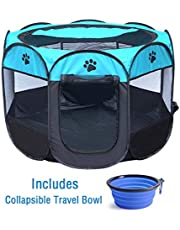 "ZuHucpts Indoor Outdoor Dog Pet Playpen / Portable Foldable Puppy Cat Exercise Pen Kennel Tent/ Soft Folding Crate Cage House + Collapsible Travel Bowl | Water resistant | Removable shade cover (Medium (28"" x 28"" x 18""),Bule)"