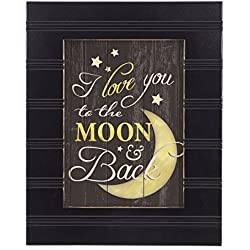 I Love You to the Moon and Back Black with Gold Trim 8 x 10 Framed Wall Art Plaque
