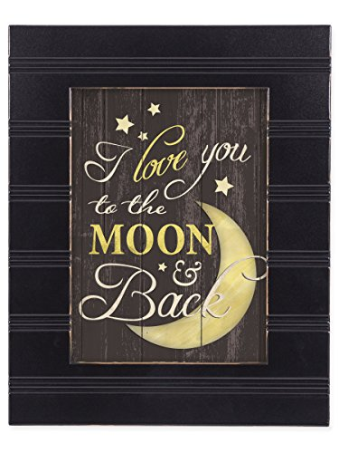 I Love You to the Moon and Back Black with Gold Trim Framed Wall