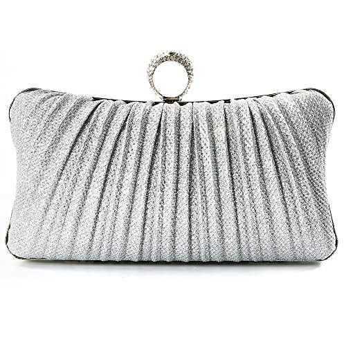 Silver Ruched Large Purse - iwish Womens Silver Glitter Clutch Purse Pleated Evening Bag for Bridal Wedding Party with Rhinestone Ring