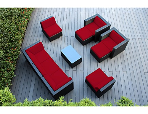 Ohana 10-Piece Outdoor Patio Furniture Sectional Conversation Set, Black Wicker with Red Cushions - No Assembly with Free Patio -