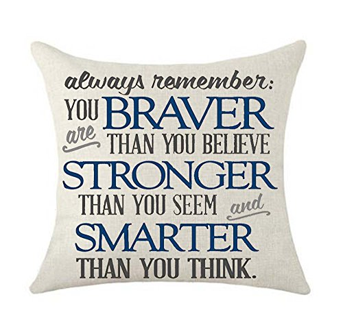 Inspirational Life Always Remember You are Braver Stronger Thank You Seem and Smarter Than You Think Cotton Linen Decorative Throw Pillow Case Cushion Cover Linen Pillow case 18X18 (2)