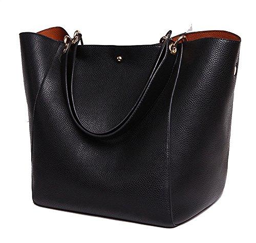 SQLP Damen Einfach Leder Henkel Tasche Elegant Handtasche Schultertasche (Schwarz)