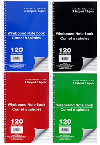 JOT Three Subject, Wirebound Notebook, Wide Ruled, 120 Pages, Four Colored Packed by JOT