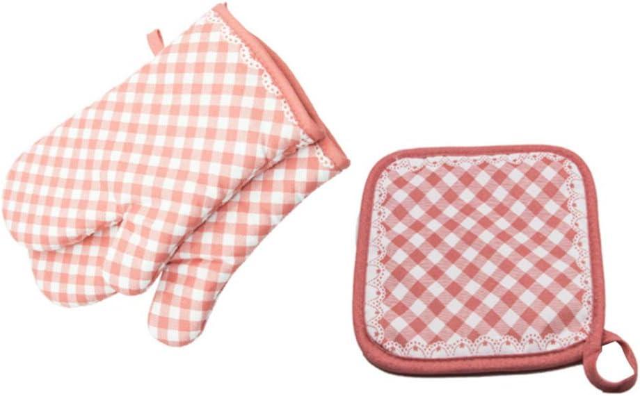UPKOCH Manoplas de Horno de algodón Guantes de microondas Conjunto de Soporte de ollas para Hornear Barbacoa (Rosa)