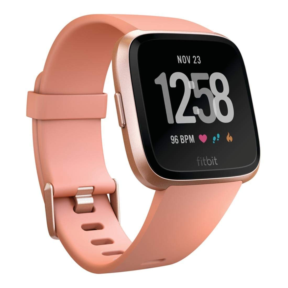 Fitbit Versa Smart Watch, Peach/Rose Gold Aluminium, One Size (S & L Bands Included) by Fitbit
