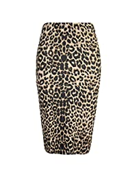 Oops Outlet Women's Printed Tube High Waist Wiggle Bodycon Pencil Midi Skirt