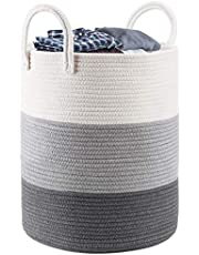 Cotton Rope Storage Basket Laundry Baby Hamper with Handle Tall Decorative Woven Basket for Blankets Large Woven Basket for Toy,Cloth,Yoga Mat,Pillow (Grey&White)