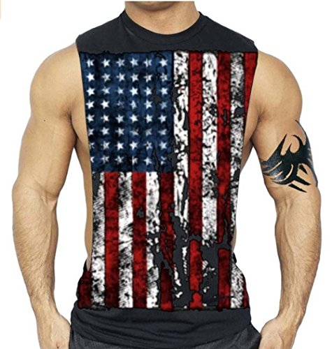 American Flag Muscle Workout T-Shirt Bodybuilding Tank Top XS-3XL (L, Black) - Flag Top Shirt