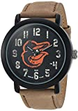 Game Time Men's 'Throwback' Quartz Metal and Leather Casual Watch, Color:Beige (Model: MLB-TBK-BAL2)