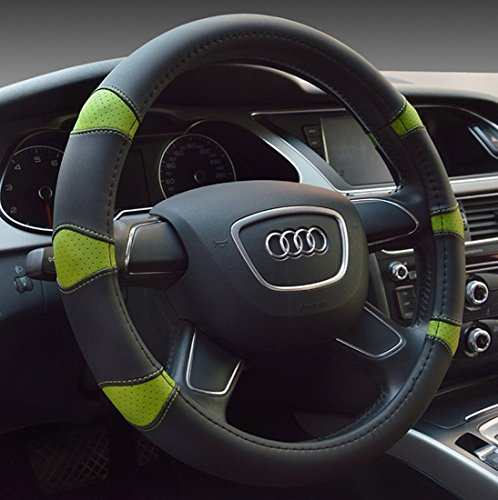 Dee-Type MicroFiber Leather Car Steering Wheel Cover Universal 15 inch Black & Green