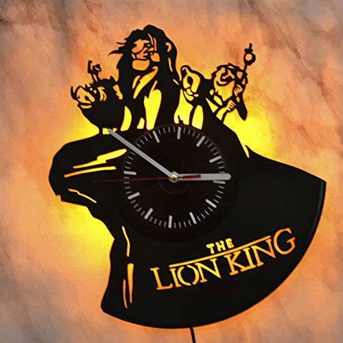Art Finder The Lion King Led Light Vinyl Record Wall Clock - Get Unique Bedroom or livingroom Wall Decor - Gift Ideas for Boys and Girls Perfect Element of The Interior Unique Art (Timon And Pumbaa Tv Series)