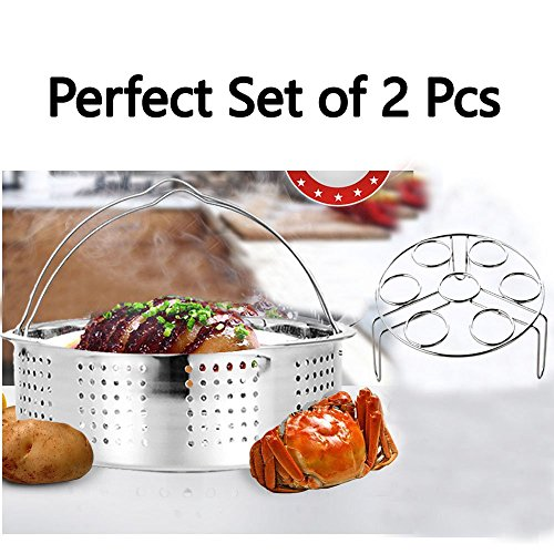 Steamer Basket With Egg Steamer Steamer Rack for Instant Pot and Pressure Cooker Accessories, Vegetable Steam Rack Stand. Fits Instant Pot 5,6,8 qt Pressure Cooker, Stainless Steel, 2 Pieces by OYOY (Image #6)