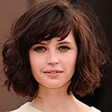 SHKY Fashionable New Shoudler Length Women's Wavy Style Short Hair Wigs Curly Short Brown Hair Wigs for Daily Use