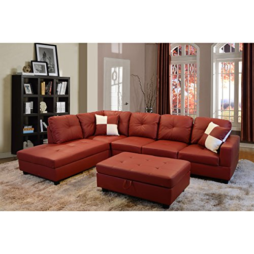 Beverly Furniture Beverly Red 3 PieceFaux Leather Right-facing Sectional Sofa Set with Storage Ottoman, Red