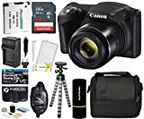 : Canon PowerShot SX420 IS Digital Camera (Black) with 20MP, 42x Optical Zoom, 720p HD Video & Built-In Wi-Fi + 64GB Card + Reader + Grip + Spare Battery and Charger + Tripod + Complete Accessory Bundle