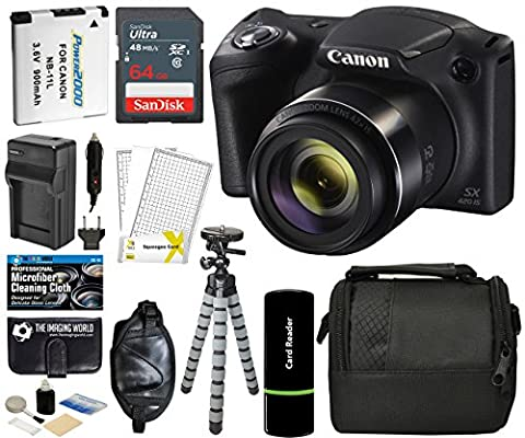 Canon PowerShot SX420 IS Digital Camera (Black) with 20MP, 42x Optical Zoom, 720p HD Video & Built-In Wi-Fi + 64GB Card + Reader + Grip + Spare Battery and Charger + Tripod + Complete Accessory (Digital Cameras)