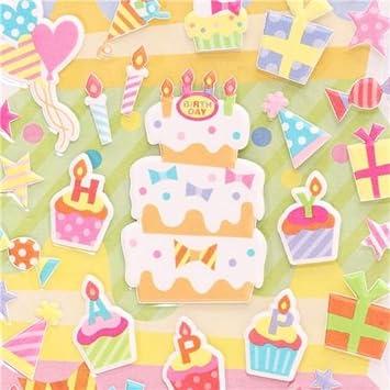 Fabulous Happy Birthday 3D Birthday Stickers From Japan Cake Presents Funny Birthday Cards Online Sheoxdamsfinfo
