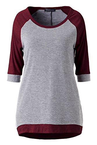 Zattcas Womens Slouchy Dolman Tunic 3/4 Sleeve Raglan T Shirt Tops (X-Large, Burgundy-no pocket)