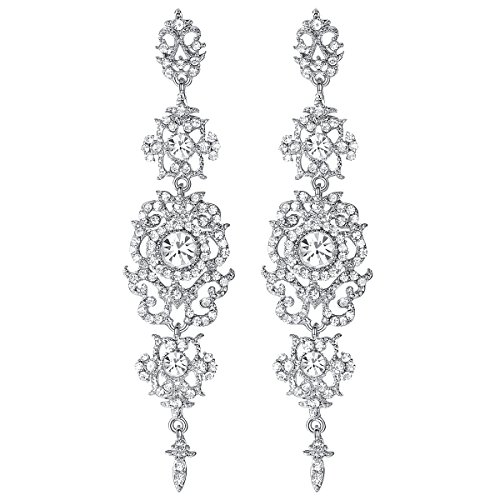 mecresh Silver Long Wedding Chandelier Austrian Crystal Earrings for Women Brides Bridesmaid