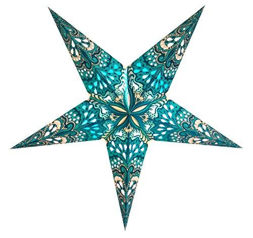 Weihnachtsstern / Papierstern Lampenschirme mit funkelnden dekorativen Designs in Handarbeit SIRIUS - Tiffany Blau