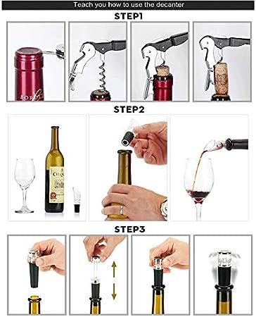 LTLWSH Sacacorchos Camarero,Aireador Bomba de Vacío, Juego de Accesorios para Vino Cerveza y Sidra Estuche de Regalo de Vino Premium con Abrebotellas