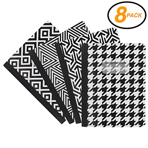 Emraw Black & White 4 Fashion Styles Cover Composition Book with 100 Sheets of Wide Ruled White Paper - Set Includes All Style Covers (8 Pack) by Emraw
