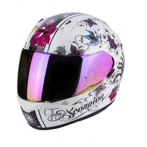 Amazon.es: Scorpion Casco de moto Exo 390 Chica Perle, color blanco/lila, tamaño M