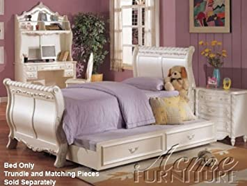 pearl white finish twin sleigh bed by acme - Twin Sleigh Bed