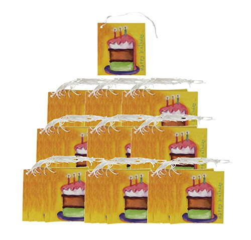 Iconikal Cardstock Tie-On Birthday Gift Tags - 70 Count (Birthday Cake) (Birthday Gift Labels)