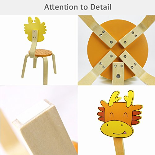 School Stack Chairs, Bentwood Chairs for Kids and Cute Animal Style for Baby Boys, Girls and Toddlers, Children Wooden Furniture Chair for 1, 2, 3, 4, 5, 6 Year Old and UP - iPlay, iLearn (Dragon)